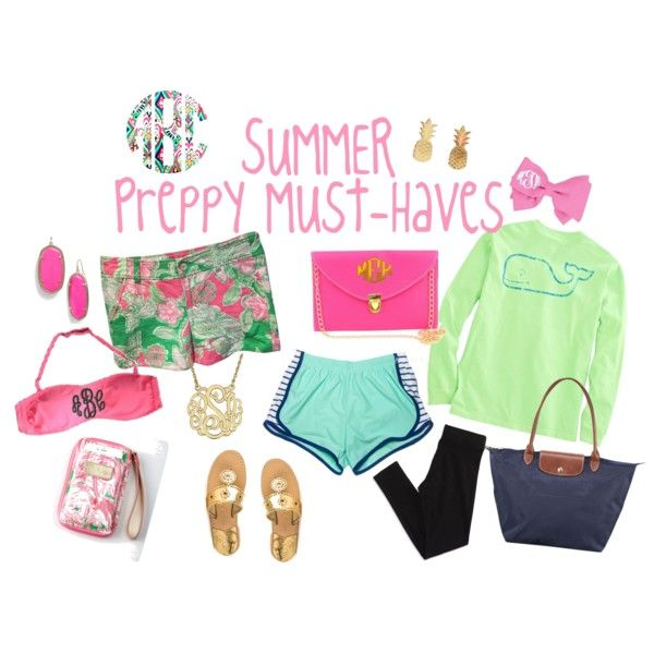 Summer Preppy Must-Haves 2015 by cassidy-gillette on Polyvore featuring Vineyard Vines, Lilly Pulitzer, American Eagle Outfitters, Jack Rogers, Longchamp and Kendra Scott
