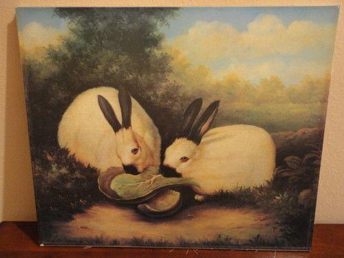P Rolence Rabbits Vtg. Folk Art Print - ...
