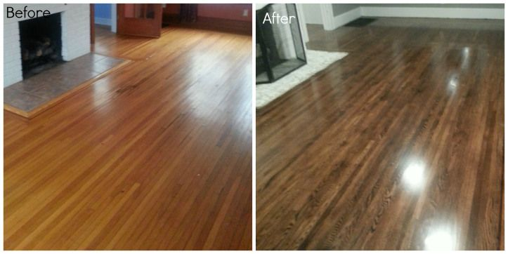 Before and after, refinishing hardwood oak floors. Dark hardwood floors.