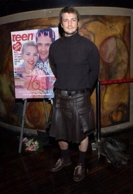 Nathan Fillion wearing his leather kilt