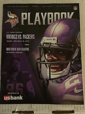 2016 Minnesota Vikings Packers US Bank 1st Game Playbook Program