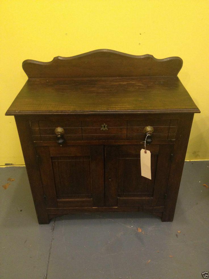 antique bedroom washstand dresser cabinet used wood furniture