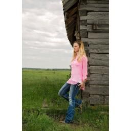 Pink Chevron Sheer Blouse. We recommend wearing a cami underneath.