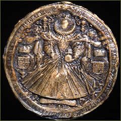 Elizabeth I used this great seal during the second half of her reign - from 1586 to 1603. It is an impression from seal matrix made of bronze and was engraved by Nicholas Hilliard.
