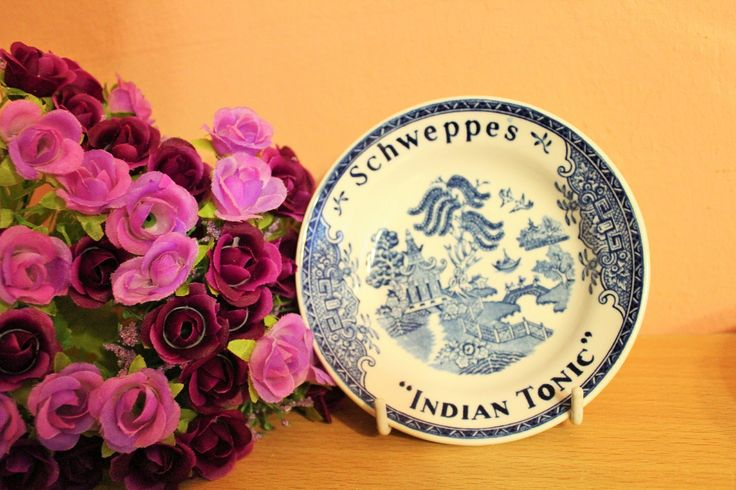 Set Of 5 Vintage Porcelain Blue Willow Schweppes Indian Tonic Plates Bowls, Advertising Dish by Grandchildattic on Etsy