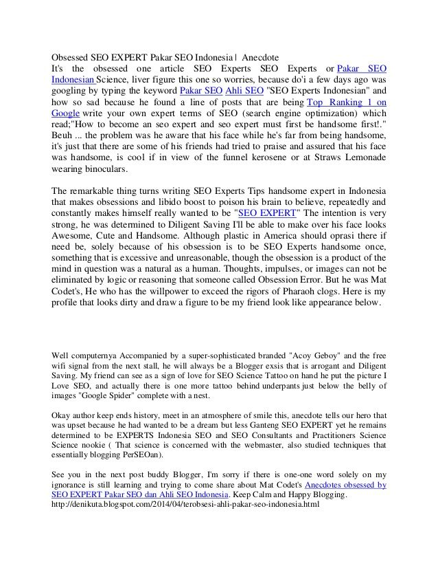 Obsessed seo expert pakar seo indonesia by DENI KUTA via slideshare : http://denikuta.blogspot.com/2014/04/terobsesi-ahli-pakar-seo-indonesia.html
