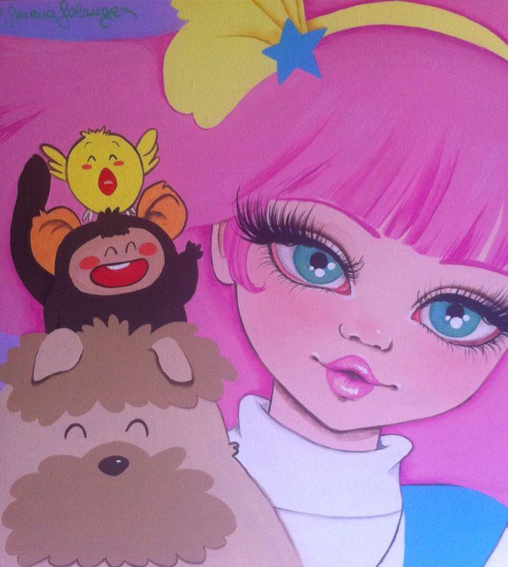 """""""Gigí"""" Acrilico su legno Serena Solange Carluccio #pink#"""