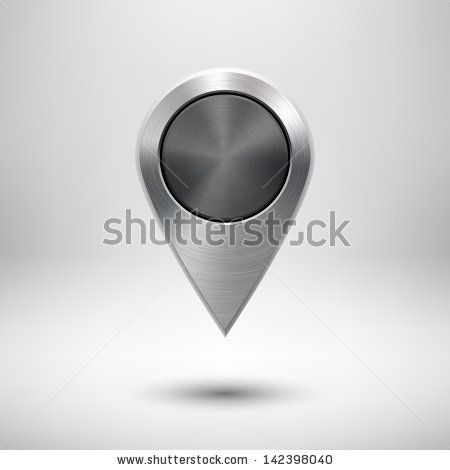 Technology map pointer (button, badge) template with metal texture (chrome, silver, steel), realistic shadow and light background for user i...