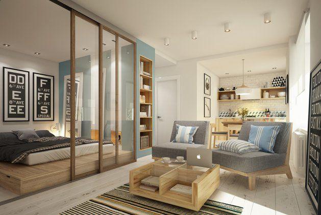 Эта квартира зонирована таким образом, что в ней хватило место для спальни, гостиной, кухни, небольшого офиса и маленькой гардеробной. Как это удалось сделать? Подробности и рекомендации по применению — в нашей статье  https://roomble.com/publication/kak-zonirovat-kvartiru-ploshadyu-40-kvadratnyh-metrov-5-sovetov/
