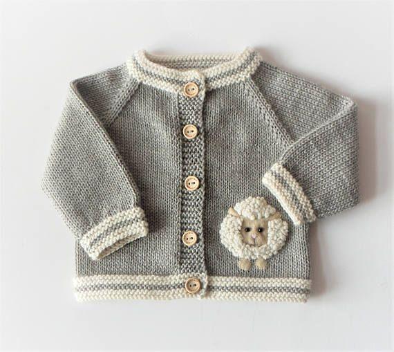 Lamb cardigan little lamb sweater knitted sweater baby sweater baby shower gift merino sweater light