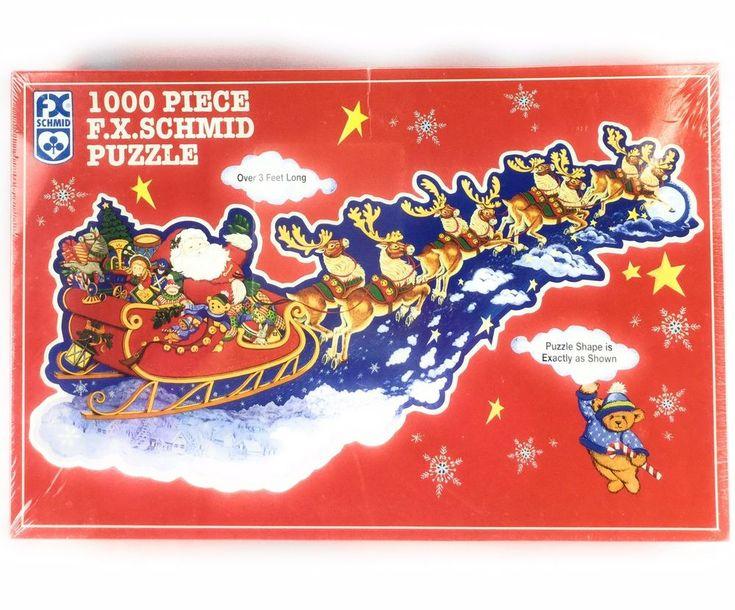 New 1000 pc FX Schmid Puzzle Santas Sleigh Shaped Christmas Reindeer Jigsaw 3 ft #FXSchmid #ebayROCteam