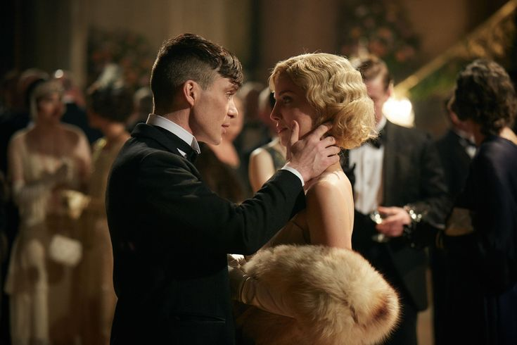 Peaky Blinders, season 3, episode 2, aired 12 May 2016. Thomas Shelby is played by Cillian Murphy and Grace Shelby is played by Annabelle Wallis.