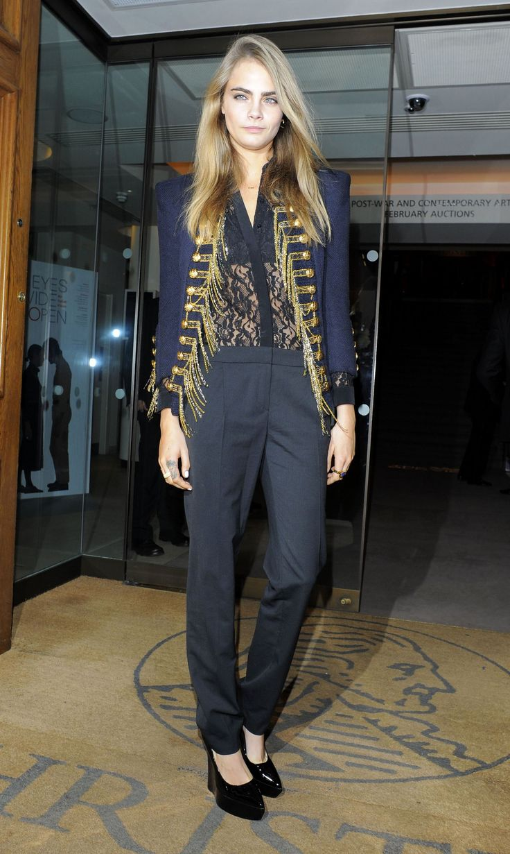 Cara Delevingne wears a Balmain military jacket // Fashion Flash: The Cool-Girl Jacket You Need, Like Right Now