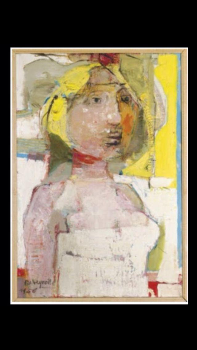 """Paul Rebeyrolle - """"Tête de femme"""", 1956 - Huile et fusain sur toile - 87,6 x 59,6 cm (*)"""