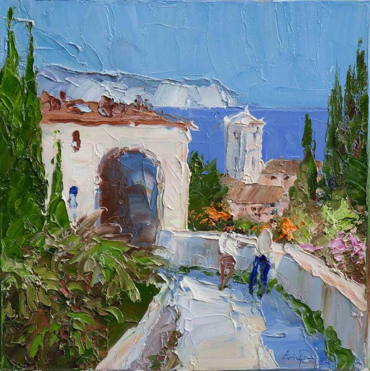 Artwork Name: Amalfi Coast. Artist: Erich Paulsen. Size: 16 x 16. Medium: Oil on Canvas.