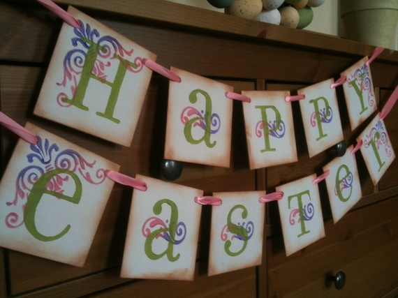 10 best birthday surprises for your husband images on pinterest happy easter garland easter banner love the vintage look maybe substitute spring for easter so it can be displayed longer negle Gallery