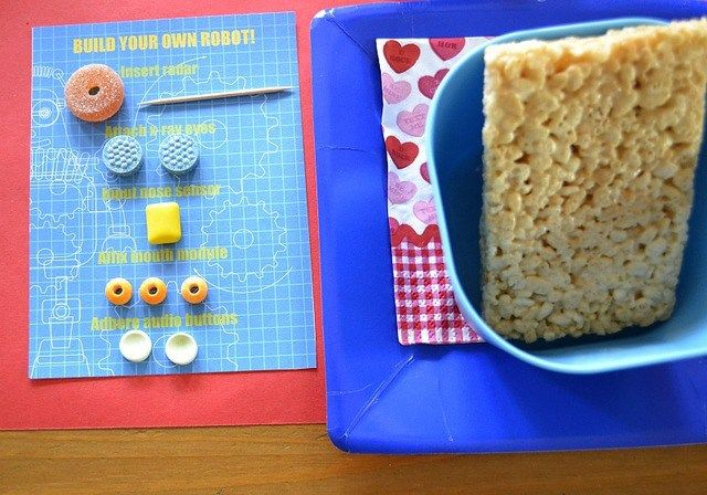 robot Valentine Playdate party build your own robot rice krispies