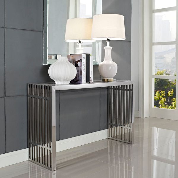 Modway Stainless Steel Modern Gridiron Console Table (Silver)