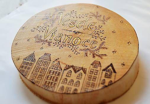 alysha / Závesná drevená dekorácia - Veselé Vianoce