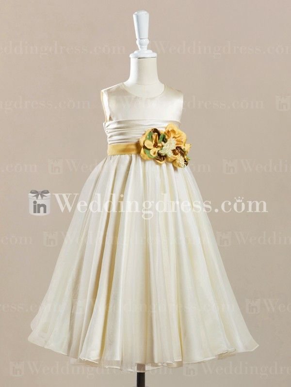 baby cute flower girl dress_Ivory/Canary
