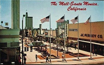 """Here's a photo of the original outdoor Santa Monica mall, looking south east from the corner of Wilshire Blvd. By the mid-1970's the mall had fallen on hard times, and in 1989 was transformed into the hugely successful """"Third Street Promenade"""