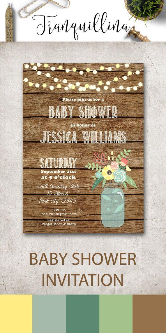 Boy Baby Shower Invitation Printable, Rustic Baby Shower Invitation, Country  Baby Shower Invitation, Mason Jar Baby Shower Invitation