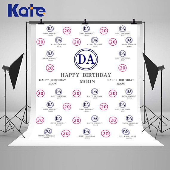 Pink And Blue 20th Anniversary Banner Photography Backdrops No