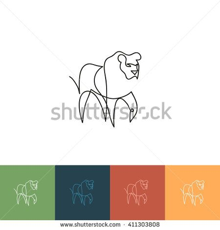 One line lion design silhouette. Hand drawn minimalism style vector illustration