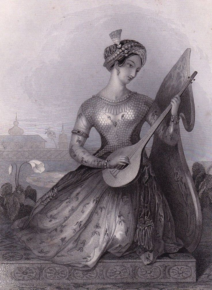 Sitar Indienne Cithare Luth Inde Gravure Romantique Anglaise 1840 | eBay
