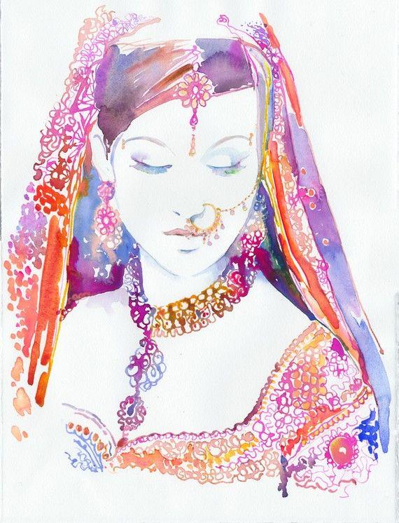 Watercolour Fashion Illustration Indian by silverridgestudio, $35.00