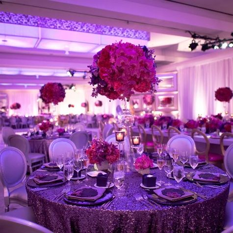 Sequin Embellished Linens Were Topped With Fuchsia Roses