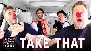 Comic Relief - Take That Carpool Karaoke: UK Red Nose Day Special Edition  In honour of the UK charity day Comic Relief James Corden hops in the car with Gary Barlow Howard Donald and Mark Owen of Britains biggest man-band Take That to sing some of the group's classic songs and perform for unsuspecting patrons in Los Angeles. Made with love for Red Nose Day. To learn more and to donate please go to: www.rednoseday.com For more Comic Relief Red Nose Day moments…