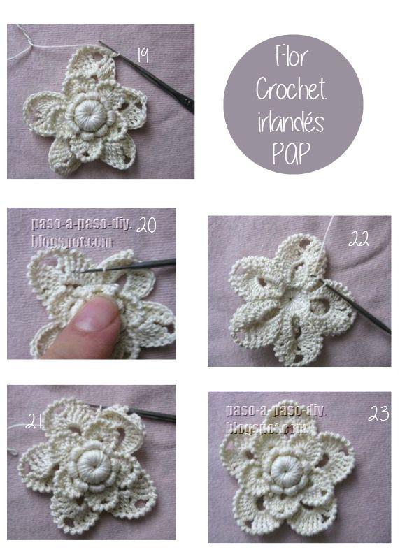 como tejer flor crochet irlandés con detallado procedimiento