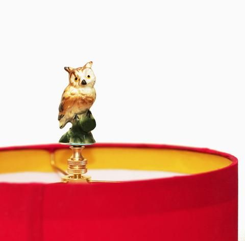 DIY Owl Lamp Finial - Read about DIY lampshade kits and projects at http://ilikethatlamp.com