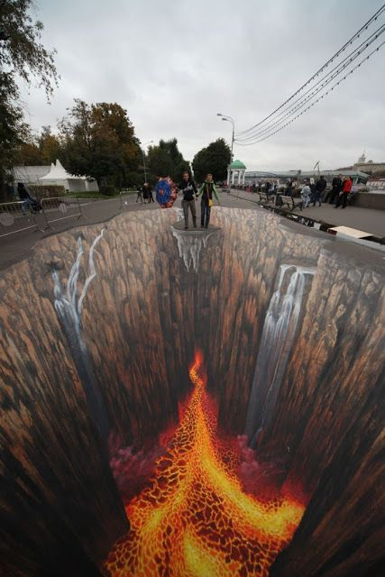 this would be good for space because its 3D and it shows the distance between the walls and also around them and the distance between the people and the hot lava