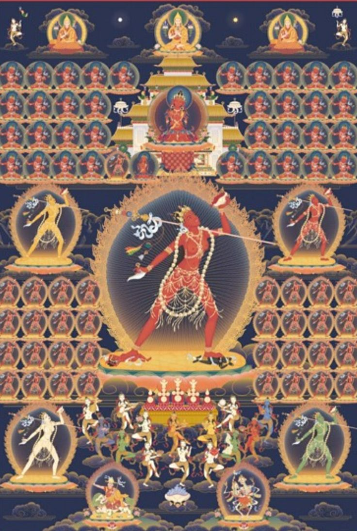 Vajrayogini surrounded by her retinue of Dakinis, and the lineage Gurus of Vajrayogini practice. At the very top is Guru Sumati Buddha Heruka in the centre, Je Phabongkhapa to the left, and Kyabje Trijang Rinpoche to the right. The upper part of the poster depicts Guru Vajradharma flanked by the lineage Gurus of the Highest Yoga Tantra practice of Vajrayogini, most in the aspect of Hero Vajradharma.