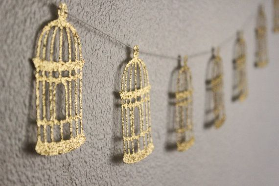 Gold Birdcage Garland  Bird Themed by StellaArborBoutique on Etsy, $13.00