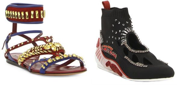 Valentino Garavani's Odissey line of sandals and sneakers feature bold designs and crystal elements.