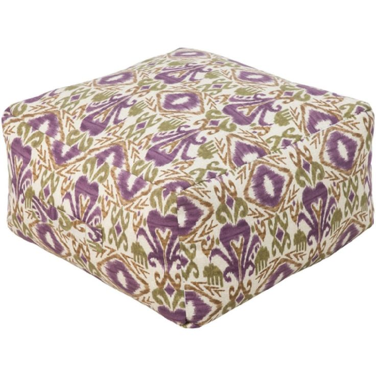 13 Plum Purple And Gold Rustic Southwestern Outdoor Patio Pouf Ottoman, Red