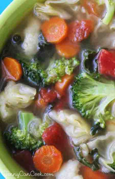 Cancer Fighting Soup recipe from Jenny Jones - Full of cruciferous and other protective vegetables. Make it from scratch in 30 minutes.