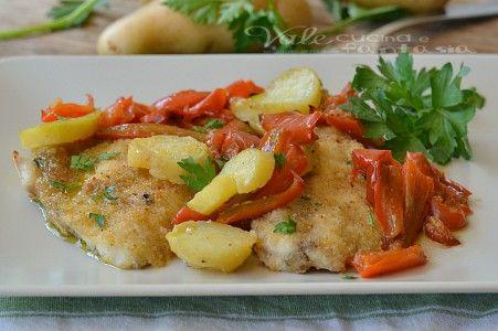 Filetti di orata gratinati al forno con patate e peperoni