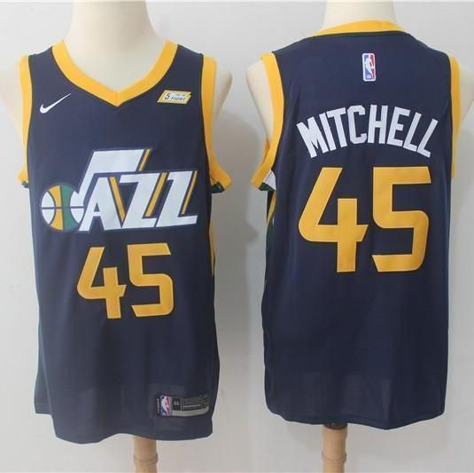 info for af3ef 7797d Men 45 Donovan Mitchell Jersey Black Utah Jazz Jersey ...