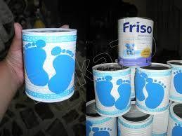 Resultado de imagen para manualidades con latas de leches para bautizo