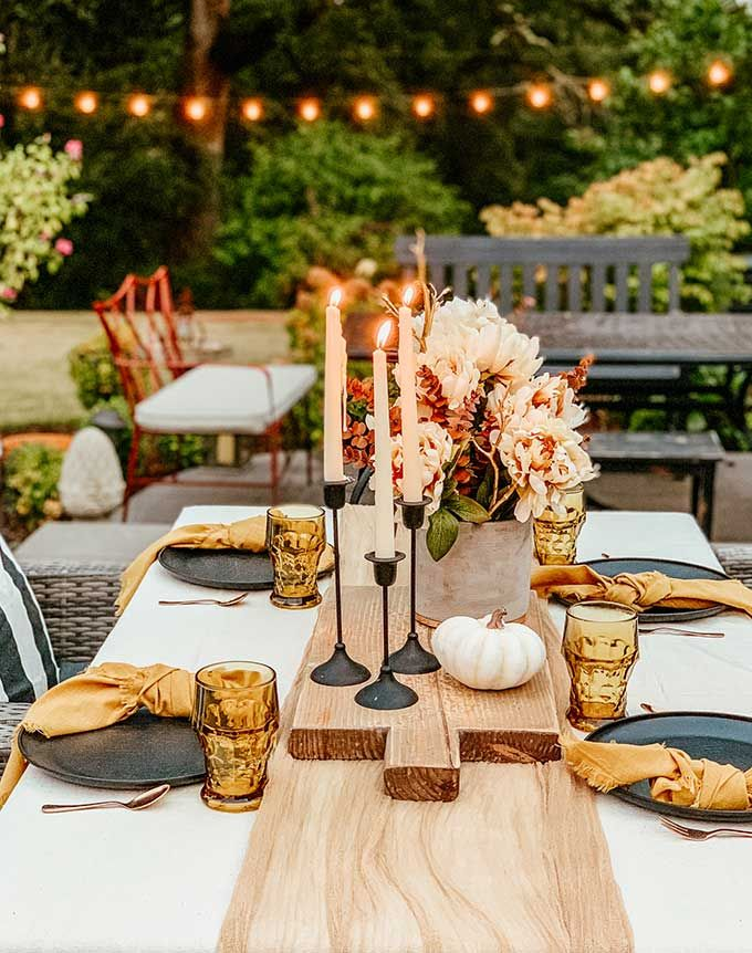 Easy Fall Outdoor Table With Drop Cloth Outdoor Table Settings Fall Table Settings Outdoor Farmhouse Table