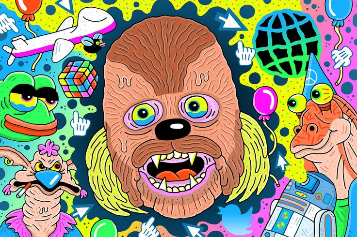 I've got a bunch of illustrations on @ringer this week, here's the first for an article about Chewbacca Mom: https://theringer.com/chewbacca-mom-google-news-alerts-recent-history-week-b58326340e2e