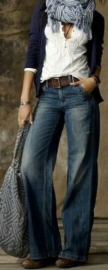 wide leg denim, leather belt, white blouse, navy sweater, scarf, boho bag