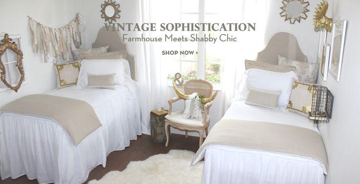 Neutral coordinated dorm bedding and dorm decor Shabby Chic Dorm Room Bedding