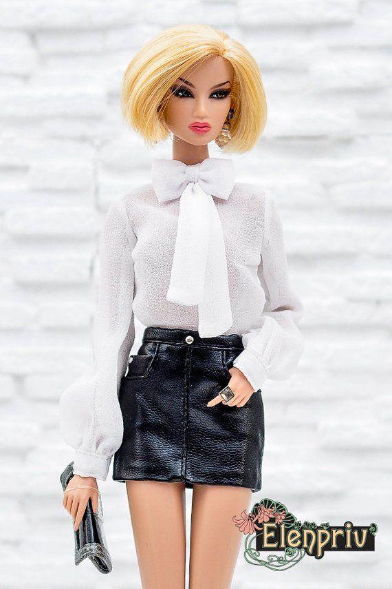 04d230ddc3 ELENPRIV black leather mini skirt for Fashion royalty FR2 and | Etsy