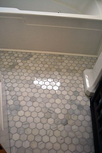 marble hex floor tile 300 for a small bath space