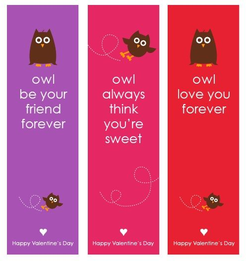 Printable valentine owl bookmarks.